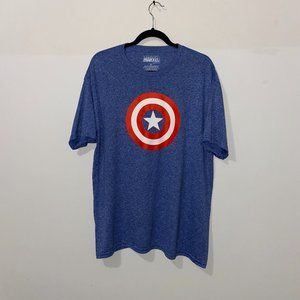MARVEL MEN'S BLUE HEATHER CAPTAIN AMERICA T-SHIRT
